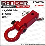 "Ranger 2"" Hitch Receiver with 3/4"" Shackle D-Ring Combo Adapter 11,000 LBs 5 Tons by Ultranger"