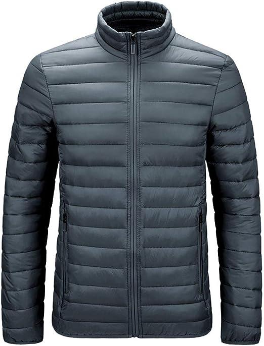 メンズジャケット、軽量耐水性のパッカブルジャケットコート、スタンドカラーウォームウィンターコート