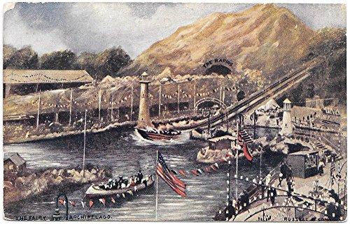 Drawn Postcard Crystal Palace Series The Ferry Amusement Park~99867