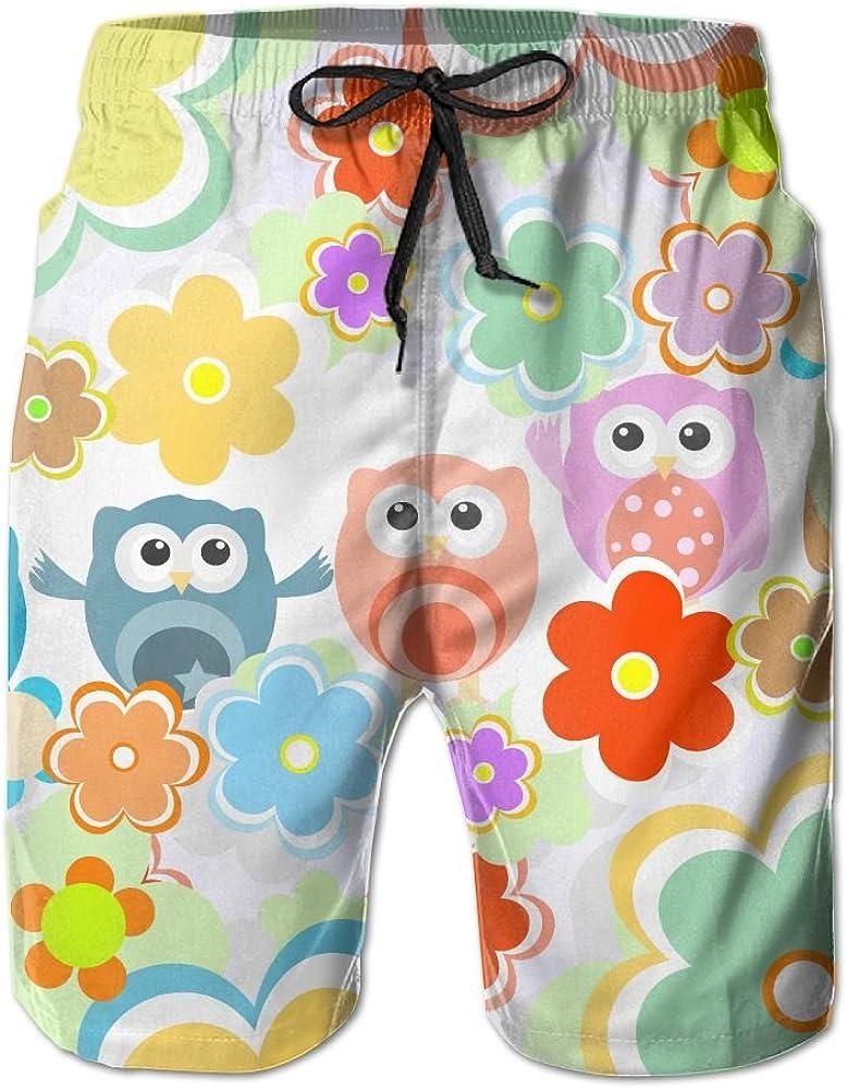 LUASD Mens Lovely Owls and Flowers Quick Drying Ultra Light Surf Pants Swim Trunks