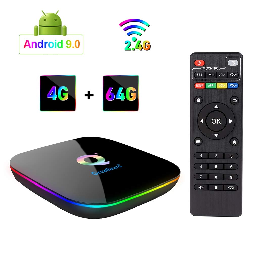 Greatlizard Android 9.0 Q Plus TV Box 4GB RAM 64GB ROM 4K HD H6 Quad Cord 2.4G WiFi Smart TV Box by Greatlizard