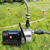 1.6HP Shallow Well Pump Stainless Booster Pump Lawn Water Pump Electric Water Transfer Home Garden Irrigation(1.6 HP_Blue)