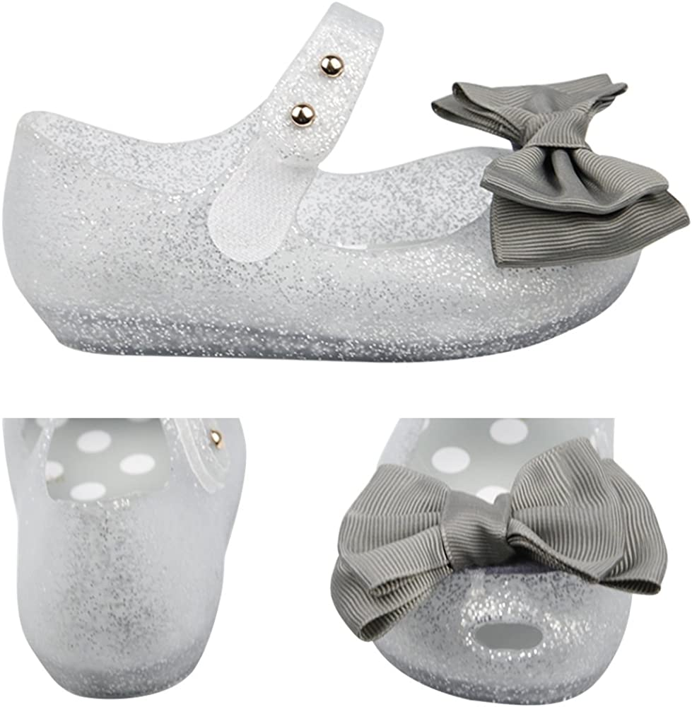 iFANS Girls Princess Mary Jane Cloth Bow Jelly Shoes Flats Toddler Little Kids