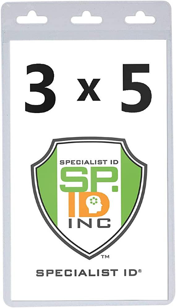 with Tuck-in Flap by Specialist ID Sold Individually Clear 2 3//4 x 3 1//2 Large Badge Holder 3x5 Outside