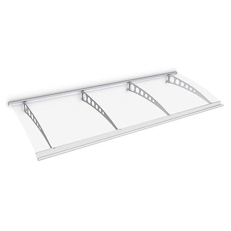 Schulte Vordach /Überdachung Haust/ürvordach 240x90cm Polycarbonat klar Stahl wei/ß Pultbogenvordach