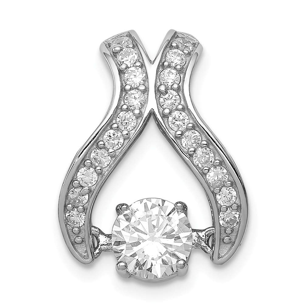 FB Jewels Solid 925 Sterling Silver Rhodium-Plated Vibrant Cubic Zirconia CZ Slide Pendant