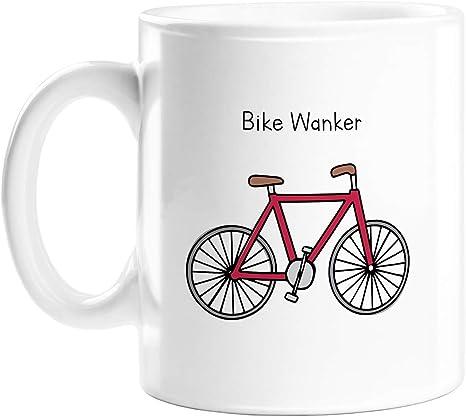 Taza para bicicleta Wanker | Deadpan Doodle, divertido regalo de oficina para ciclista, regalo de inauguración de la casa para ciclista, divertido ...