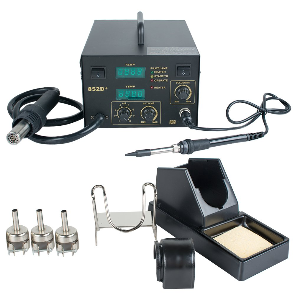 Enshey Gas-Less Flux Core Welder Welding Machine Soldering Accessories Tools 2-in-1 Hot Air Gun Unit Soldering Rework Station