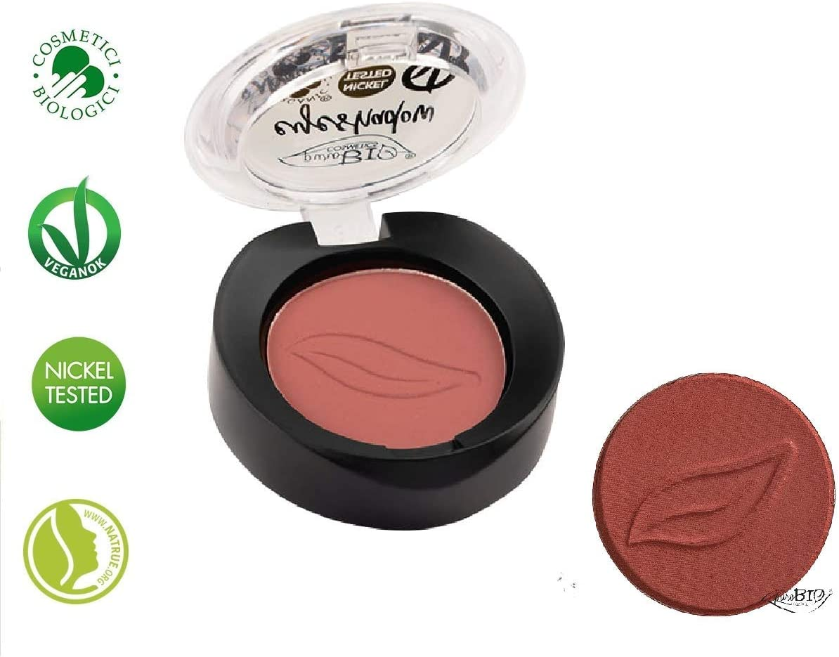 PuroBIO Certified Organic Highly-Pigmented and Long-Lasting Matte Eyeshadow – no 13 Marsala – with Vitamins and Plant Oils.VEGAN.ORGANIC.MADE IN ITALY.