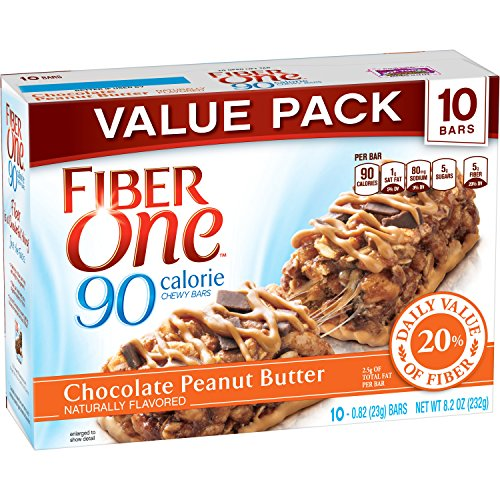Fiber One Chewy Bar, 90 Calorie, Chocolate Peanut Butter, 10 Fiber Bars, 8.2 oz (Value Pack) ()