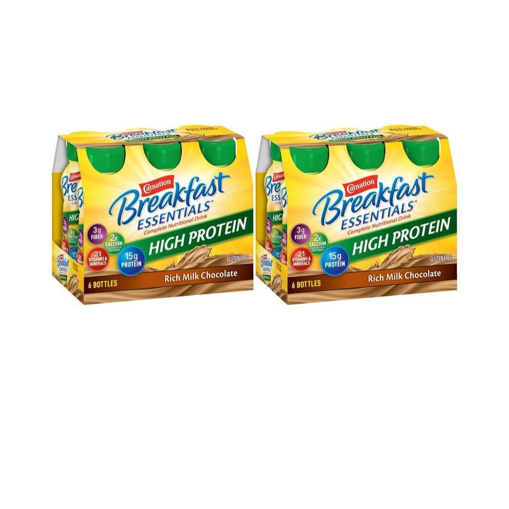 Carnation Breakfast Essentials High Protein, Rich Milk Chocolate, 8 fl. oz. Bottles, 6 Count - Pack of 2 by Carnation