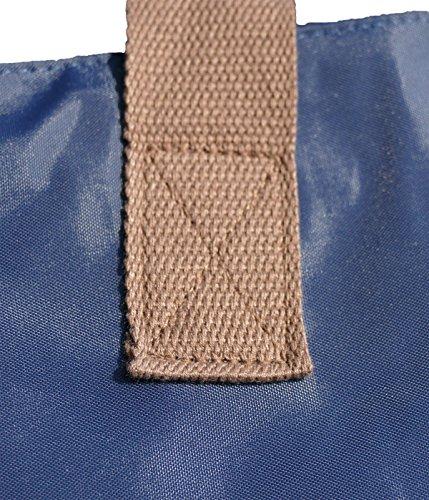 Shopper /Schultertasche / Einkaufstasche / Tragetasche / Umhängetasche aus Nylon in Navyblau - Größe 43x33cm - Motiv: Dackel / Teckel / Dachshund Glatthaardackel braun - 04