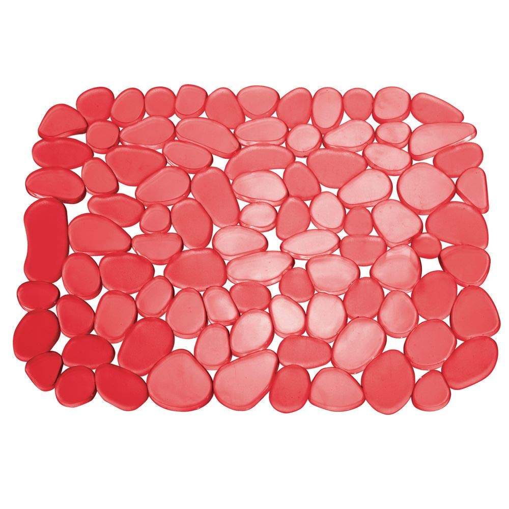 Base para fregadero con dise/ño de guijarros para proteger la vajilla y el fregadero mDesign Juego de 2 alfombrillas antideslizantes y recortables Pr/áctico tapete de PVC para la cocina rojo