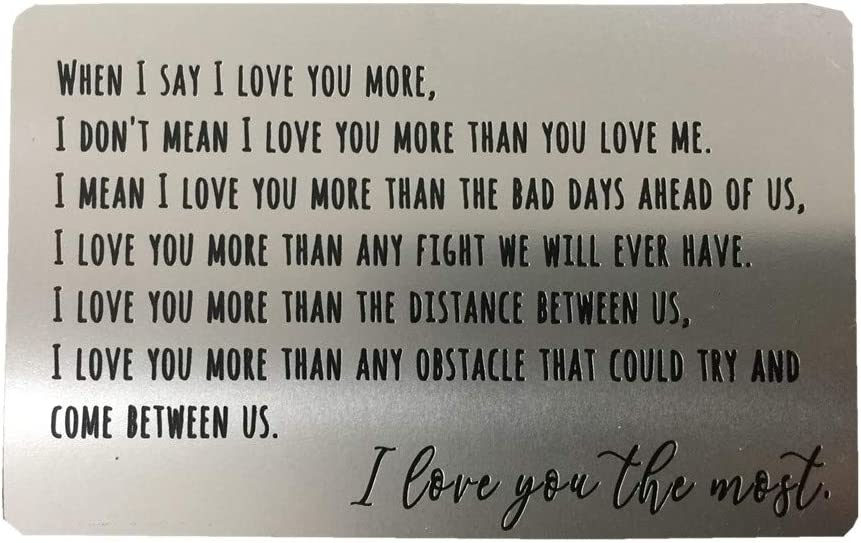 Engraved Aluminum Anniversary Gifts for Men Husband Gifts from Wife Wallet Card Love Note Valentines Day Long Distance Boyfriend Gift Idea Meaningful /& Romantic Mini Wallet Insert