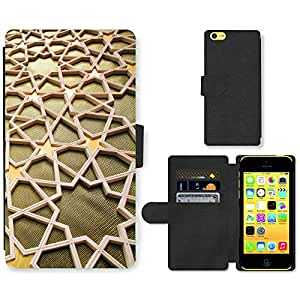 PU Cuir Flip Etui Portefeuille Coque Case Cover véritable Leather Housse Couvrir Couverture Fermeture Magnetique Silicone Support Carte Slots Protection Shell // V00001911 pattern_Fotor Islámica // Apple iPhone 5C