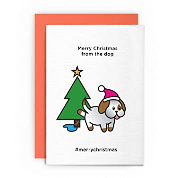 Christmas Card Funny Humorous MERRY CHRISTMAS FROM THE DOG Merrychristmas Xmas Greeting Puppy