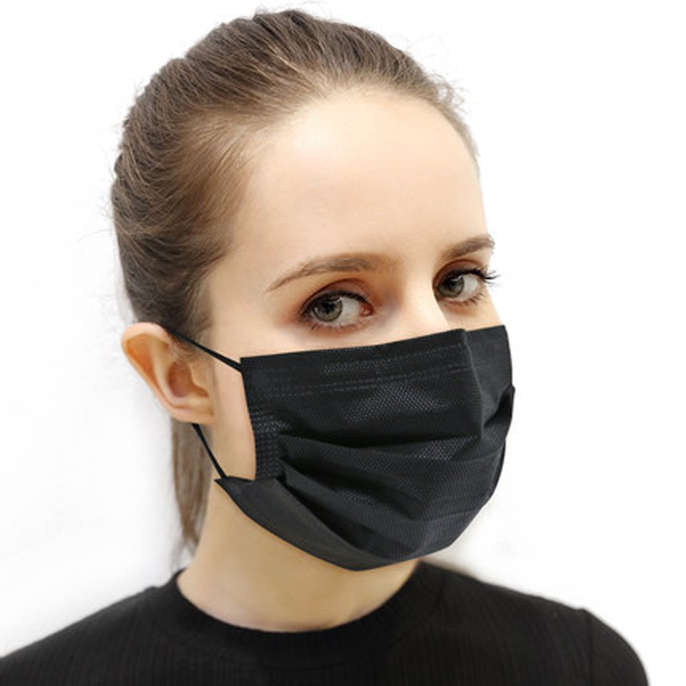 Famixyal 50 pcs/box Individual Package Non-woven Fabric Disposable Mask Black Warm Face Mask Anti-fog Dust Mask Earloop Safety Respirator Particle Respirator Filter Virus Bacteria (Black 3-layer Mask)