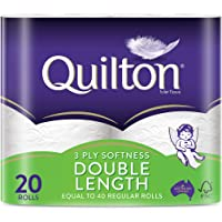 Quilton 3 Ply Double Length White Toilet Tissues, 20 count