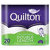 Quilton 3 Ply Double Length White Toilet Tissues, Pack of 20