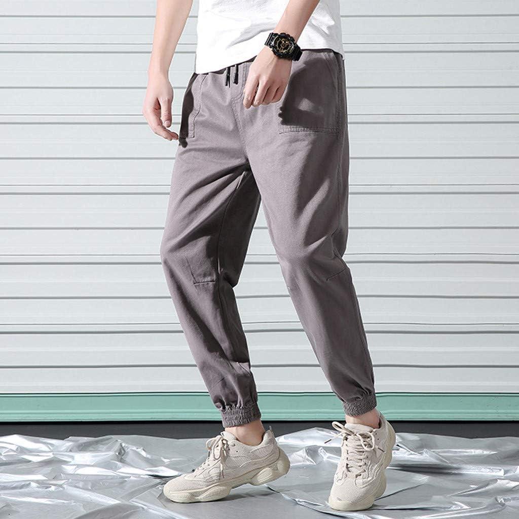 Solid Color Pockets Harem Slacks Men Casual Outdoor Jogger Sports Drawstring Ankle-Length Trousers Mens Baggy Pants