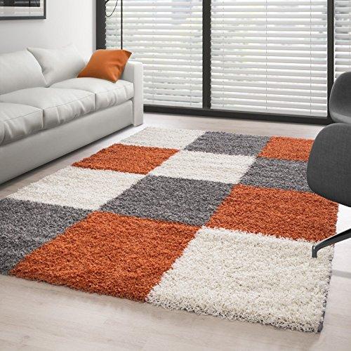 Hochflor Langflor Wohnzimmer Shaggy Teppich Florhöhe 3cm Mehrfarbig kariert - Orange-Grau-Weiss, 160x230 cm