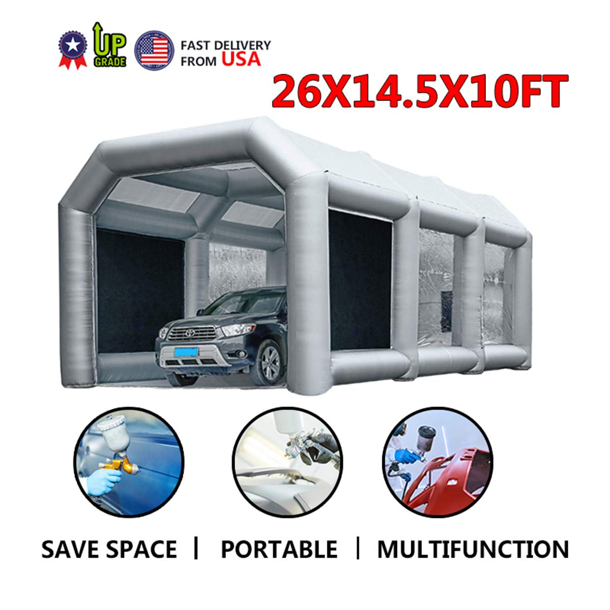 Inflatable Spray Booth Paint Tent Mobile Portable Car Workstation Filtration System Environmental Solutions 26x14.5x10 FT