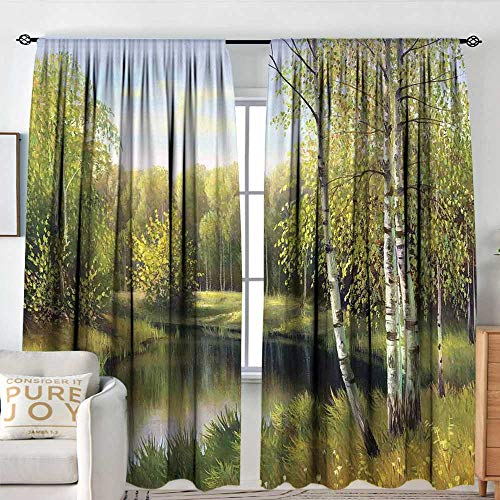 NUOMANAN Print Pattern Curtains Forest,Birch Tree Forest in Autumn Leafless Branches Calm River Oil Paint Effect,Green and Pale Blue,for Room Darkening Panels for Living Room, Bedroom 54