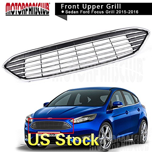 MotorFansClub Chrome Upper Centre Grille Front Bumper ABS Grill Grille Cover for Ford Focus 2015 2016 ()