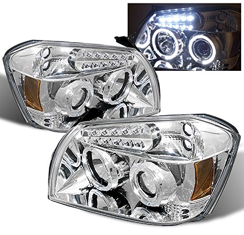 ZMAUTOPARTS For Dodge Magnum Halo LED Projector Headlights Lamps Chrome R/T SE Sxt Srt8 (Dodge Magnum Srt8 Headlights)