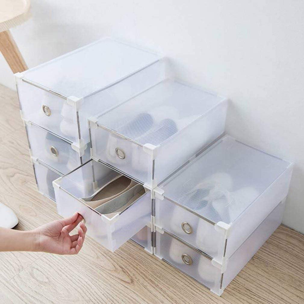 Cajas De Zapatos Caja De Almacenamiento Apilable Transparente Organizador De Almacenamiento De Calzado Reutilizable Para Zapatillas,Azul,32*21*12cm Cajas de Zapatos de pl/ástico Plegable Zapato Caja