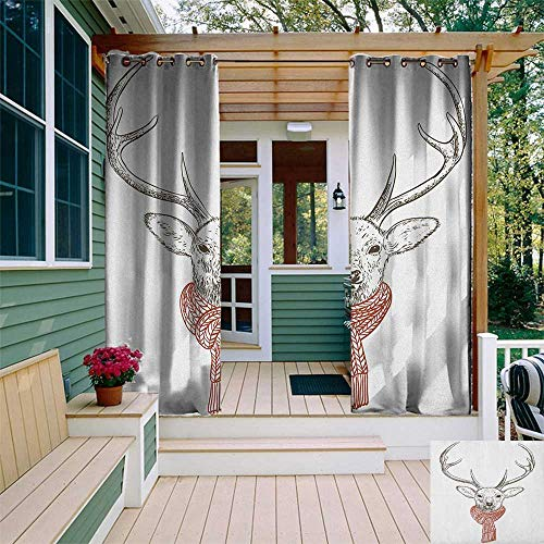 - leinuoyi Antlers, Outdoor Curtain of Lights, Illustration of a Deer Wearing Scarf Knitted Neck Wintertime Cold December, Balcony Curtains W84 x L96 Inch Redwood Grey White