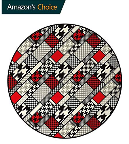 - Modern Round Area Rug,Minimalist Stylized Kitsch Abstract Pattern With Retro Fashion Geometric Effect Design Non-Slip Fabric Round Rugs For Floor Mat Carpet Diameter-31 Inch,White Black Red