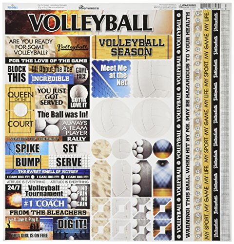 Scrapbooking Volleyball - Reminisce TVOC-100 Volleyball Cardstock Sticker, 12