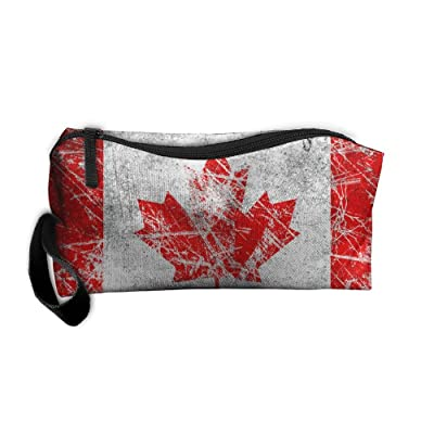 ERJJHUIK Cosmetic Bags Brush Pouch Canada Flag Portable Makeup Bag Zipper Wallet Hangbag