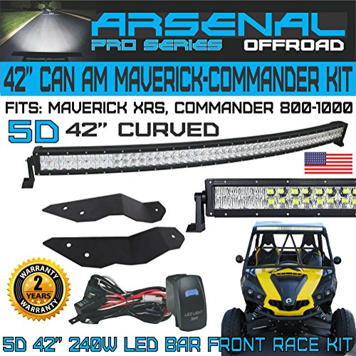 No.1 5D 42 inch Curved Pro Optics Light Bar Kit for Can Am Maverick XRS Commander 800 1000, 5D=400W 40,000LM 5D Spot Flood combo beam, Front Mounts and LED Harness