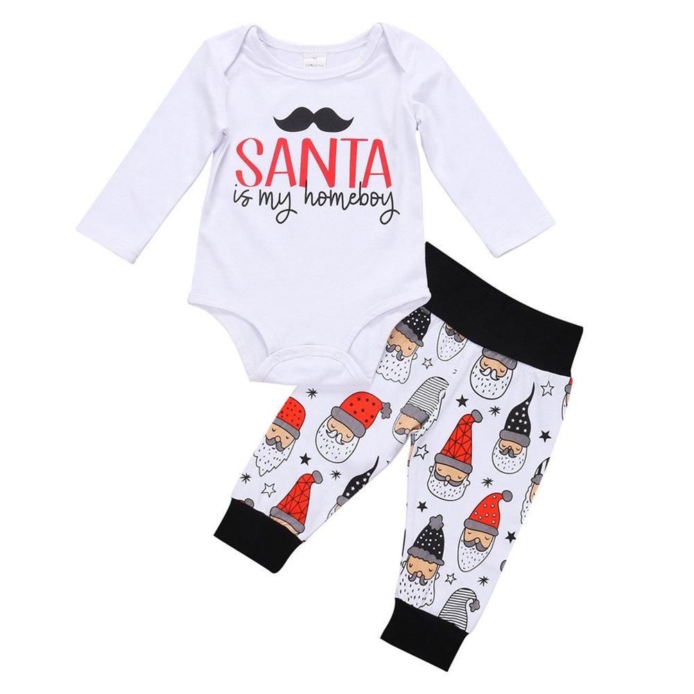 Pu Ran- Unisex Baby Toddler Babbo Natale Stampa Stampa Cotone Set Rompicapo + Pantaloni