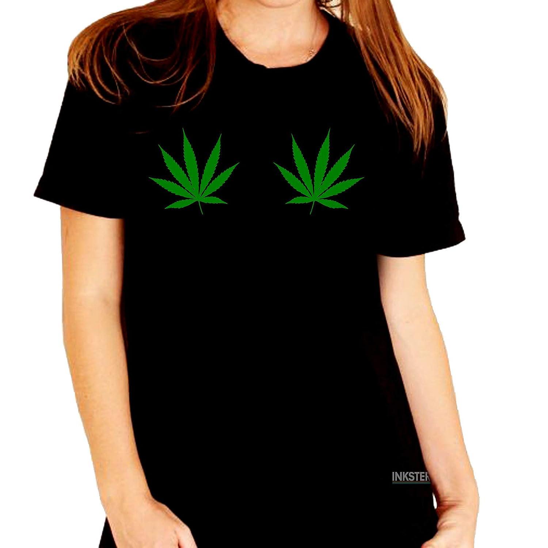 98d3ef38a47eb Pot Leaf Boob Marijuana - T-Shirt   Amazon.com