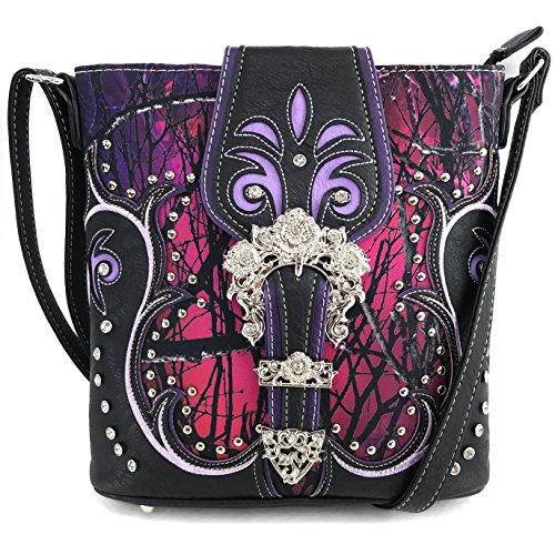 Justin West Moon Shine Camouflage Tree Branches Bling Rhinestone Buckle Handbag Purse (Purple Messenger Only)