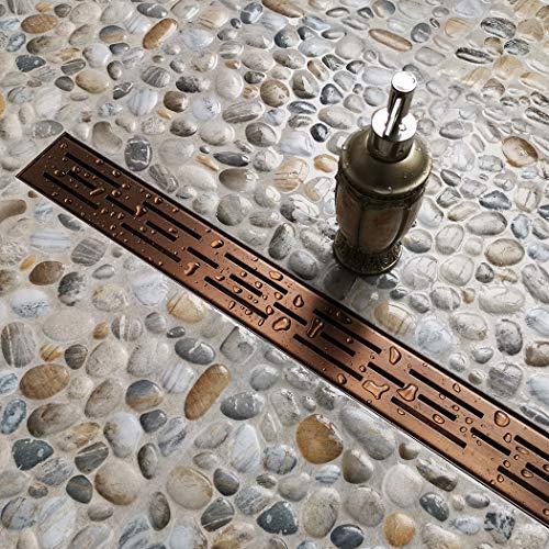 Neodrain 32-In Rectangular Linear Shower Drain with Brick Pattern Grate, Brushed 304 Stainless Steel Bathroom Floor Drain,Oil Rubbed Bronze finish,Shower Floor Drain ()