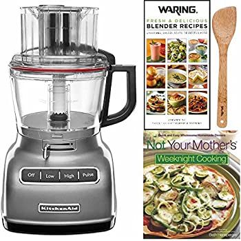 KitchenAid KFP0933CU 9 Cup Food Processor With ExactSlice System +  Cookbook, Blender Book And
