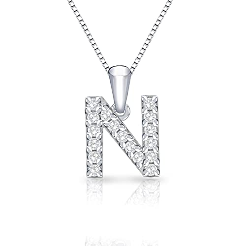 Diamond Wish 14k White Gold Diamond Initial Pendant Necklace 1 10cttw with 18-inch Chain
