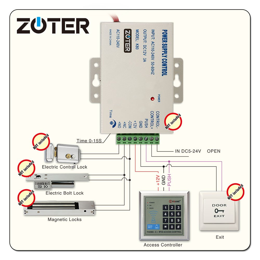 Access Control Keypad Zoter Rfid Proximity Id Reader K2000 Wiring Diagram 125khz For Electric Door Lock 5 Cards 10 Key Rings Keypads Camera