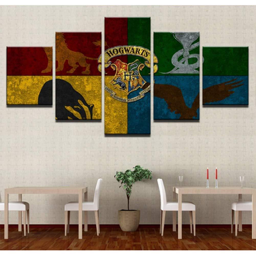 Drucke Auf Leinwand 5 Panels Harry Potter Hogwarts Zauberschule Wandkunst Malerei Mit Gerahmt,20X30x2+20X40x2+20X50x1