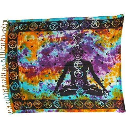 Seven Chakra Tie-Dye Yoga Meditation Altar Cloth Prayer Shawl Tapestry