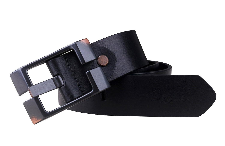 Capplue Casual Square Pin Buckle Mens Belts Full Grain Leather Belt Black Belt 38inch