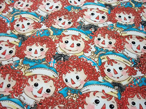Raggedy Ann & Andy Fabric Faces Rare and Hard to find Flannel HTF Rare 15