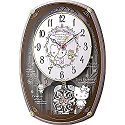 Rhythm watch Hello Kitty M540 character gimmick radio wave wall clock 30 songs loaded pink metallic color 4MN540MB13