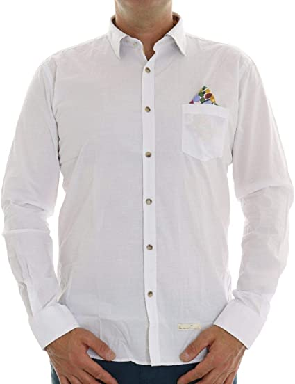ALESSANDRO LAMURA Camisa con bolsillo para hombre blanco XXL ...