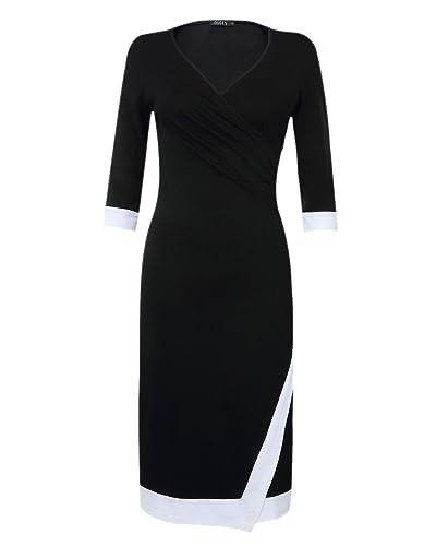 OUGES Women's V Neck Ruched Faux Wrap Sheath Dress