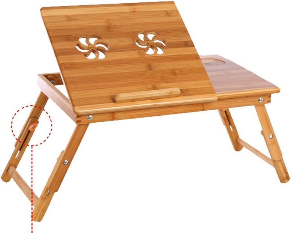 Corlorfulworld 55 x 35 cm bureau d'ordinateur portable Ordinateur Portable Table Table de lit pliable en table de table d'ordinateur portable de lit portable de lecture en bambou - bambou réglable